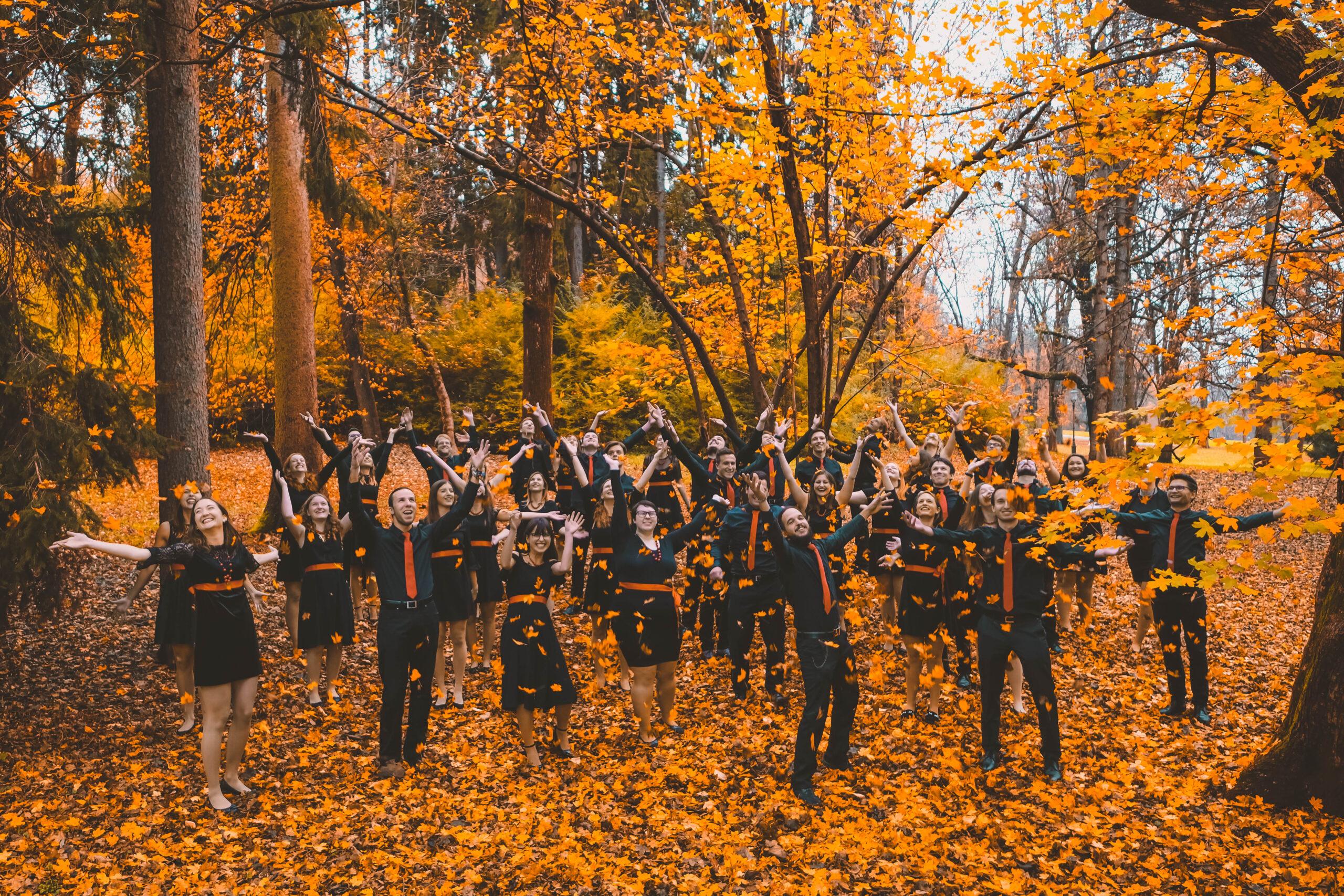 Žan Križnar, Slovenija: 50 odtenkov oranžne, 2018, Mešani pevski zbor Crescendo, Slovenija - Fotografija, narejena prav v parku Tivoli (nedaleč od tu, kjer ste zdaj), je pevcem in pevkam zbora ena ljubših fotografij.