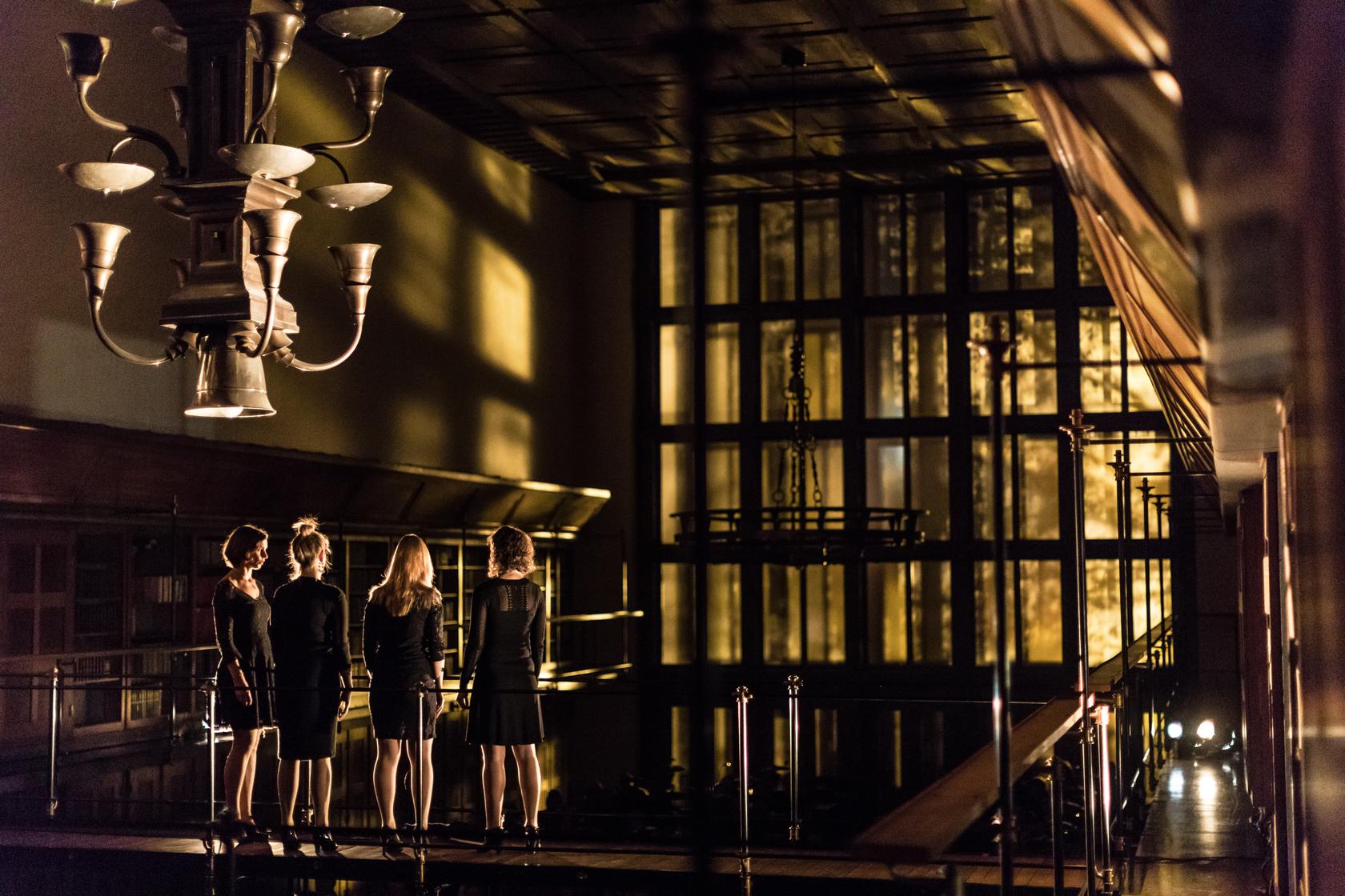 Darja Štravs Tisu, Slovenija: Gallina deLux, 2017, Vokalna skupina Gallina, Slovenija - Sklop koncertov Gallina deLux Vokalne skupine Gallina temelji na povezovanju glasbe, svetlobe in arhitekture. Arhitekturno in akustično atraktivne prostore z uporabo oblikovanja svetlobe zasedba povezuje z glasbenim vzdušjem posameznih skladb iz raznovrstnega programa.