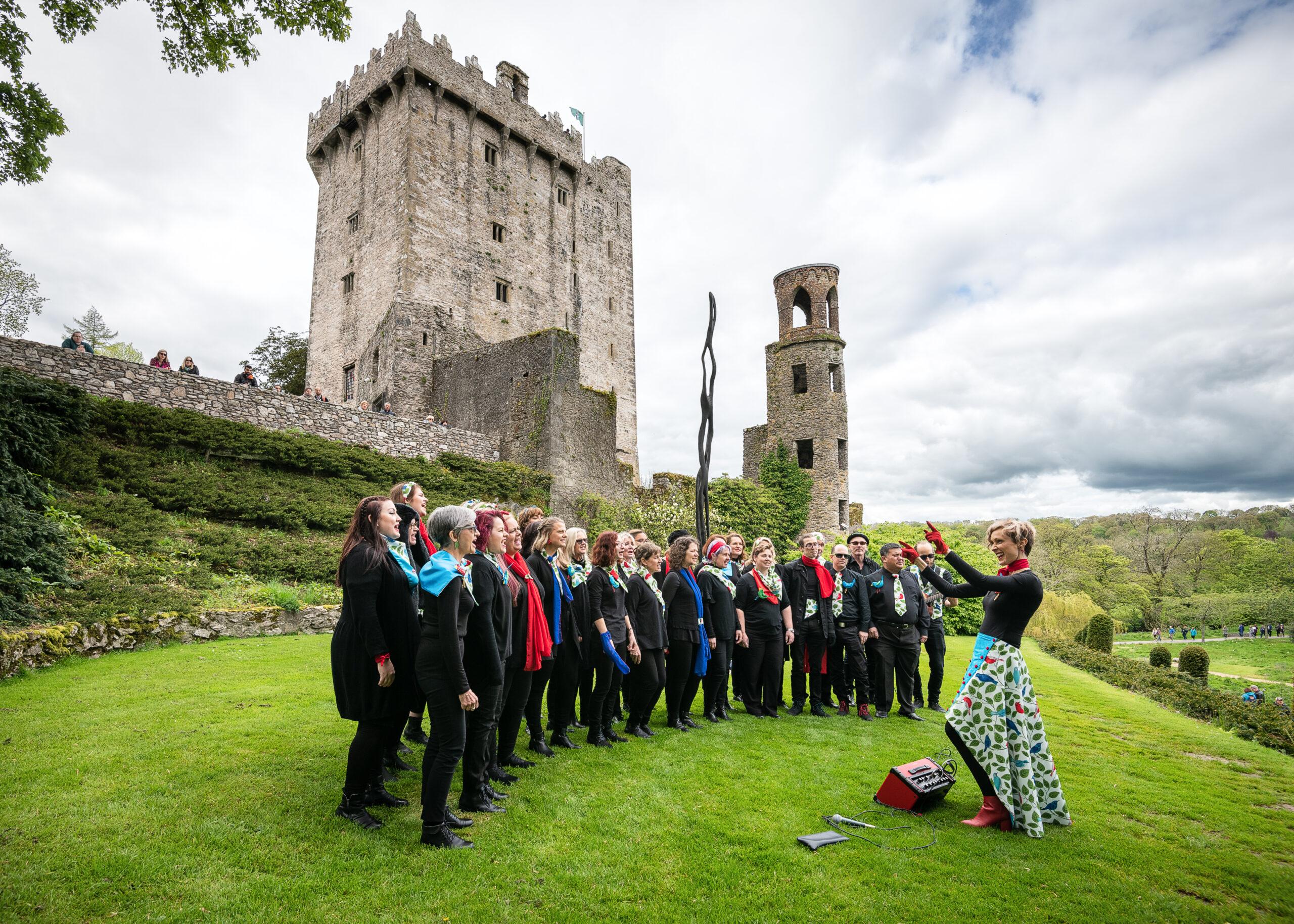 Jed Niezgoda, Ireland: Singing at Blarney Castle, Ireland, 2019, Cheep Trill Choir, Australia - Choral Trail performance at Blarney Castle, County Cork, Ireland during the 2019 Cork International Choral Festival.