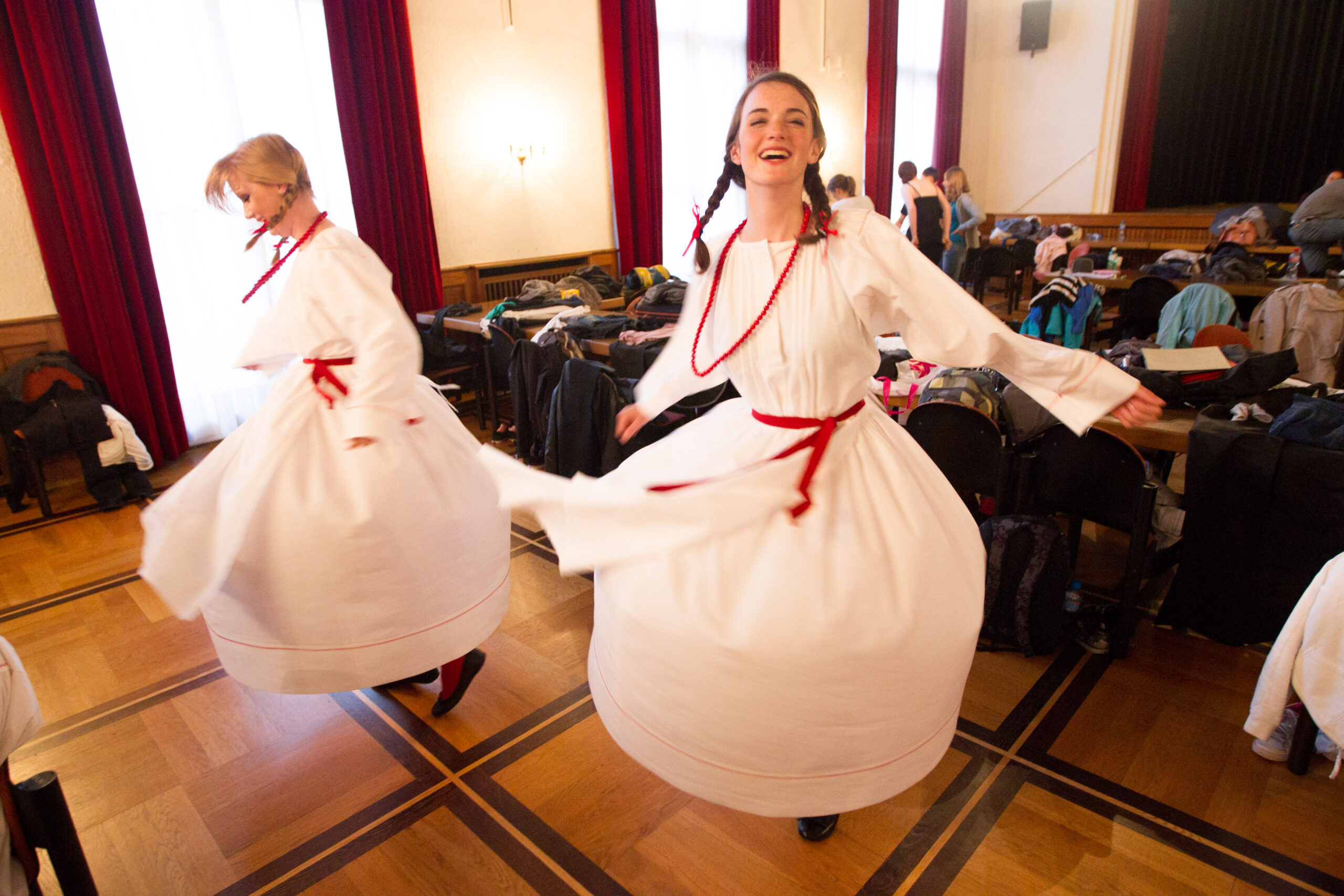 """Lenart Zore, Slovenia: The Beauties of Bela Krajina, 2012, St. Stanislav Girls' Choir of the Diocesan Classical Gymnasium, Slovenia - """"One final twirl and then we head to the stage!"""""""