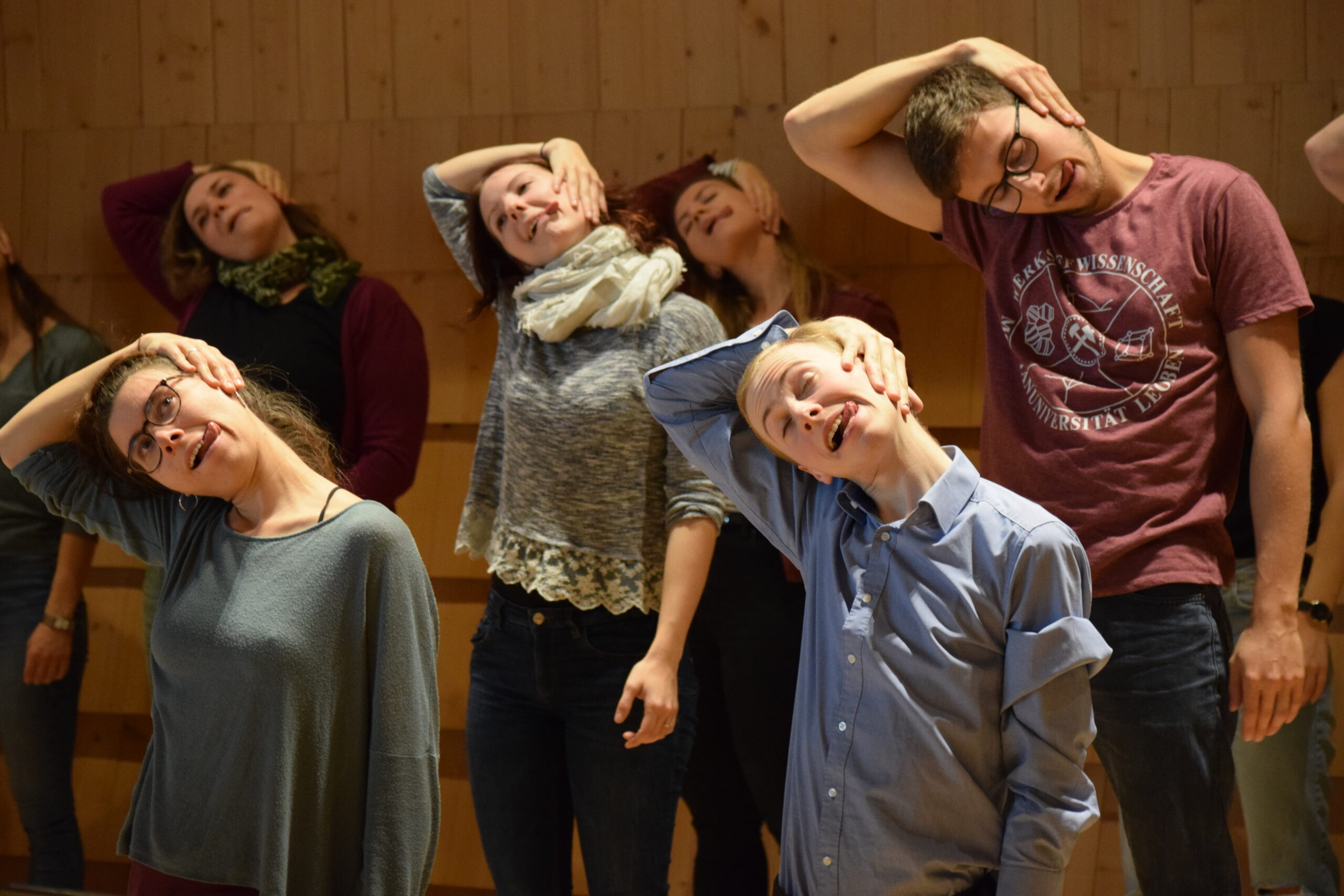 Lucia Haab, Austria: Weird Together, 2019, Kärntner Landesjugendchor, Austria - On Sunday morning, everyone is tired after Saturday's rehearsals and a full night of socialising and singing. Stretching the head towards the shoulder, pointing the tongue in the other direction ... OK, we could reconsider this exercise. But clearly, our conductors knew why they chose it. Sometimes one has to do something weird for the sake of singing better.
