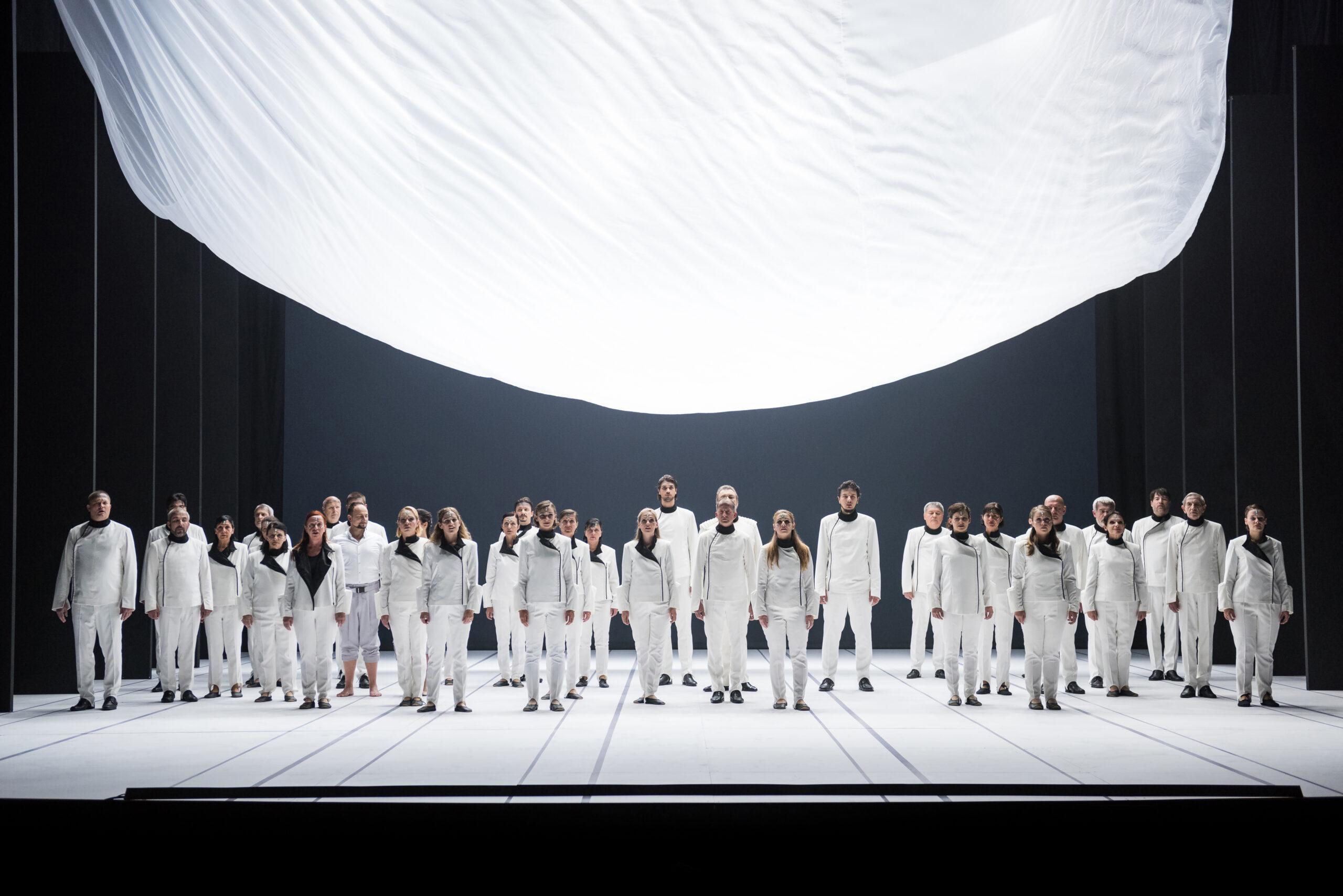Mankica Kranjec, Slovenia: A Story of the Magic Flute, 2019, Choir of the Slovenian National Theatre Opera and Ballet Ljubljana, Slovenia - Final group scene on the main stage. W. A. Mozart: The Magic Flute, season 2019/2020.